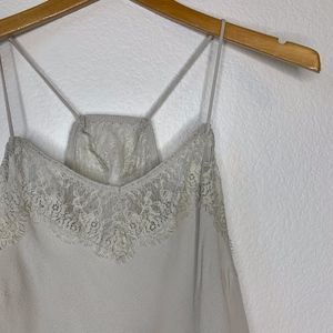 MUSTARD SEED Lace Crop Top in Silver Gray